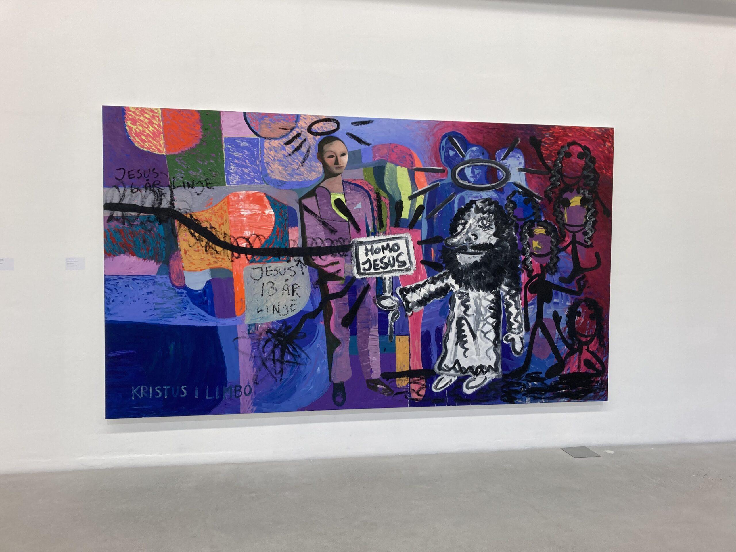 """Maleri av Sverre Bjertnes og Bjarne Melgaard. tematikken kan nok provosere """"Homo Jesus"""". Men det er grunn til minne om at """"homo"""" betyr menneske."""
